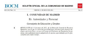 Convocatoria Oposiciones Secundaria Madrid 2012